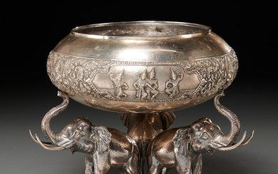 Thai silver bowl on elephant stand