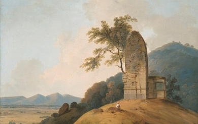 Thomas Daniell, R.A. (1749-1840), A ruined Hindu Temple on a rocky outcrop overlooking a valley, India
