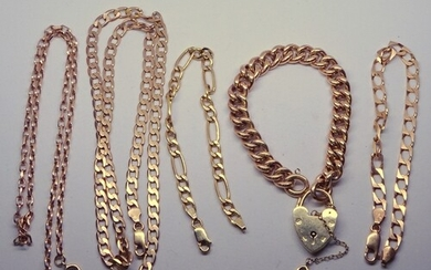 Three 9ct gold bracelets; two 9ct gold chains. 46.5gr