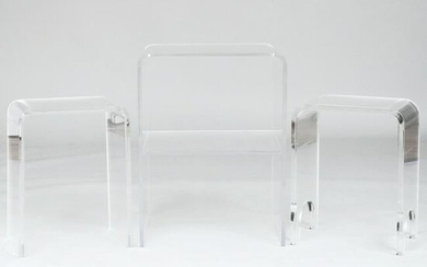 Two Millicent Zahn Small Lucite Telephone Tables on