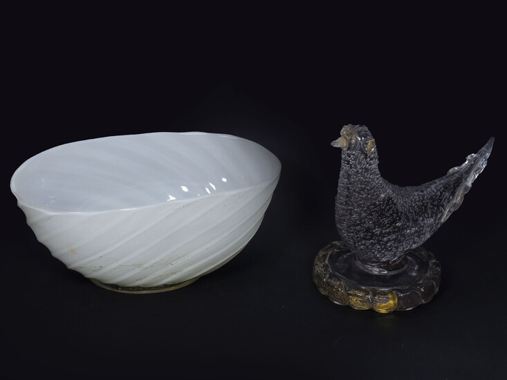 Two Murano blown glass items