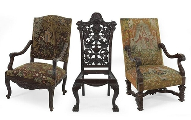 Two Needlepoint Upholstered Open Armchairs.