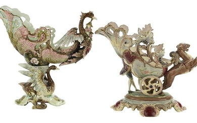 Two Similar Bateau-Form Majolica Centerpieces