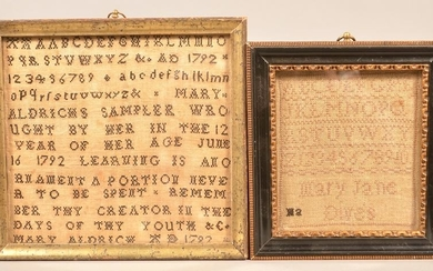 Two Small Late 18th/early 19th Century Samplers.