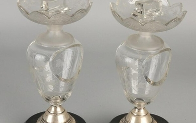 Two elegant crystal match holders with etched floral