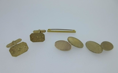 Two pairs of 9ct gold cufflinks and a tie pin,