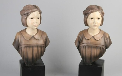 Two plastic painted busts. 21st century. Size: 42 cm.