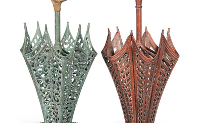 Two similar French painted cast-iron novelty stick stands