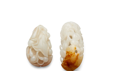Two white jade double-gourd toggles