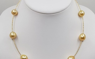 United Pearl - 18 kt. Yellow Gold - 11x13mm Golden South Sea Pearls - Necklace