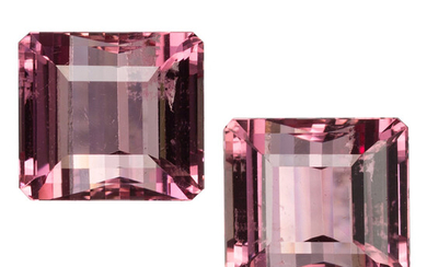 Unmounted Topaz The lot includes two rectangular step-cut pink...