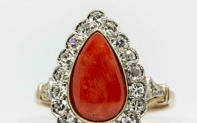 Victorian 18K Gold and Platinum Diamond and Coral Ring