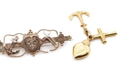Victorian 9ct rose brooch and a gold charm both representing...