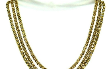 Vintage 14k Yellow Gold Long Chain Necklace