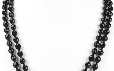 Vintage Double Strand Faceted French Jet Necklace