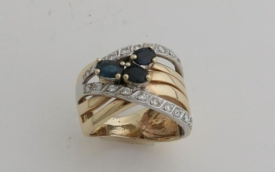 Wide yellow gold ring, 585/000, with sapphire and
