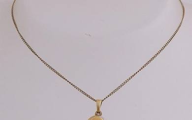 Yellow gold necklace, 585/000, with medallion. Fine