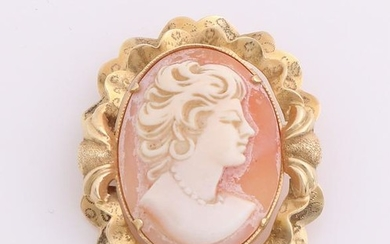 Yellow gold pendant / brooch, 585/000, with cameo. A