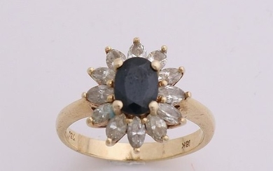 Yellow gold ring, 585/000, with sapphire and diamond.