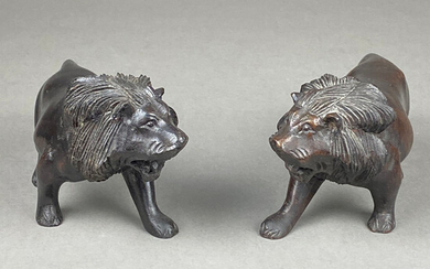 Two LION FIGURES - wood.