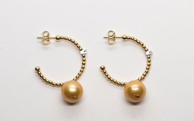 n - 18 kt. Golden south sea pearl, Yellow gold, 10.00 mm - Earrings - 0.04 ct Diamond