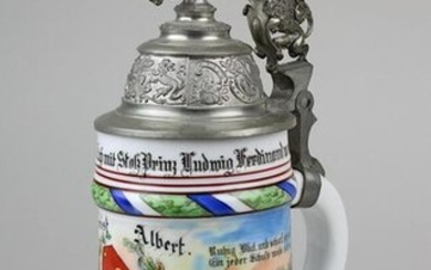 reservist jug royal Bavarian 18 Inftr.-Rgt. Prince Ludwig Ferdinand, Landau 1903 - 05, reservist Albert, colourful staffed, with scenes from the life of a soldier and the Bavarian coat of arms, 2 lasts with members of the regiment, floor painting...