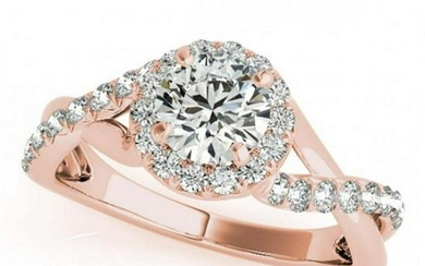 0.75 ctw VS/SI Diamond Solitaire Halo Ring 14K Rose