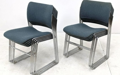 10 DAVID ROLAND Stacking Chairs Nubby Blue Teal Fabric