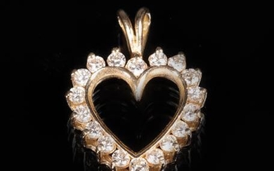14 kt. Yellow Gold and Diamond Heart Pendant