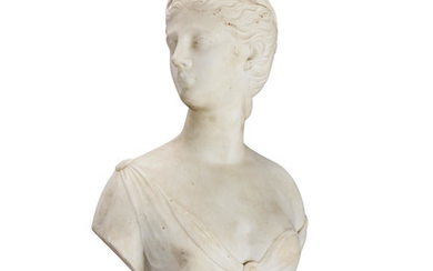 A French late 19th / early 20th century carved marble bust of Diana