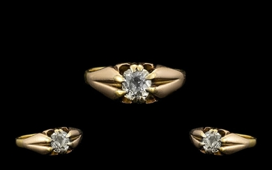 18ct Gold Gypsy Setting Single Stone Diamond Ring - the face...