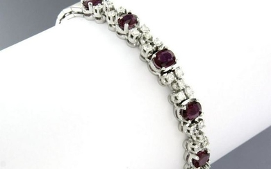 18k white gold bracelet with ruby and diamond