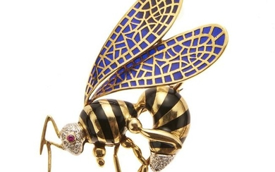 18kt yellow gold, enamel, diamond and ruby brooch