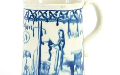18th century pearlware tankard decorated with a couple
