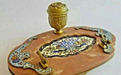 19TH C. FRENCH CHAMPLEVE ENAMEL INKWEL