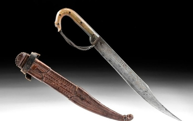 19th C. Mexican Carbon Steel Dagger w/ Leather Scabbard