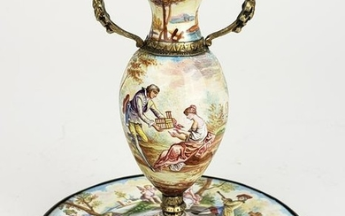 19th C. Viennese Enamel on Silver Figural Vase w/