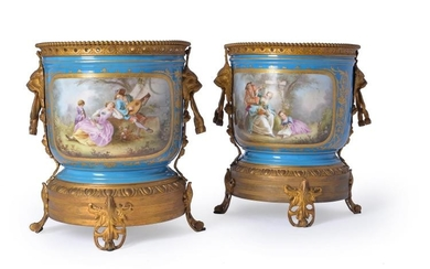 A pair of Paris porcelain and gilt metal mounted jardinieres, late 19th century