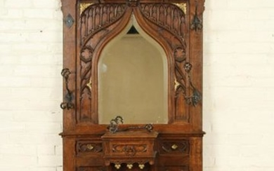 TWO PART CARVED OAK GOTHIC STYLE COAT RACK C.1900