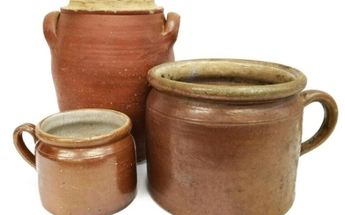 (3) FRENCH EARTHENWARE POTTERY CROCKS & JARS