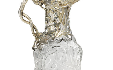 A PARCEL-GILT SILVER-MOUNTED CUT-GLASS DECANTER, MARKED BOLIN, WITH THE WORKMASTER'S MARK OF KONSTANTIN LINKE, MOSCOW, 1899-1908, SCRATCHED INVENTORY NUMBER 4448