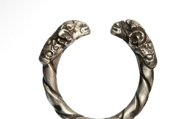 Roman Silver Ring with Rams Heads, c. 1st Century A.D.