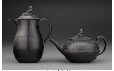 61052: Wedgwood Basalt Coffee Pot and Teapot with Figur