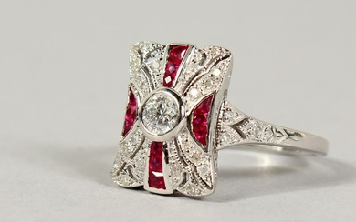 A 9CT GOLD, RUBY AND DIAMOND DECO STYLE RING.