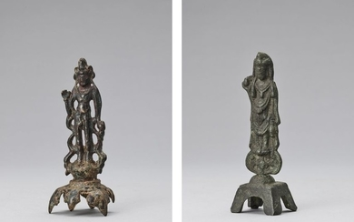 A BRONZE FIGURE OF A BODHISATTVA, TANG STYLE...