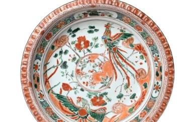 A Chinese Porcelain Plate, Kangxi, painted in famille verte enamels...