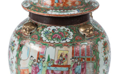 A Chinese Rose Canton Iron Mounted Porcelain Covered Tea Jar (19th century)