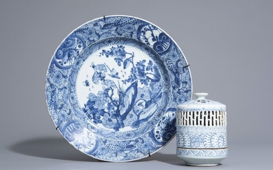 A Chinese blue and white charger and a...