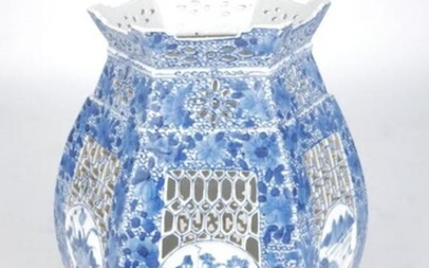 A Chinese blue and white pierced porcelain...