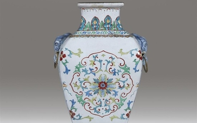 A Chinese enameled copper vase, Fanghu Qing dynasty Of...